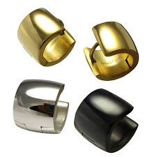2x Ohrringe Titan- Edelstahl Creolen 10mm breit glänzend silber schwarz gold