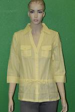 BEN SHERMAN Women's Pale Yellow Fashion Cotton Spring Shirt GT1033 Size M $70