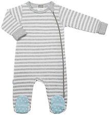 Kushies Baby Classic Grey Cotton Side Zipper Sleeper Blue Non-Slip Feet 533554