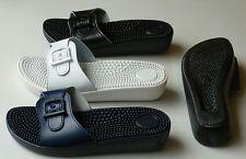 Sanitaria Damen Massage, Pantolette, Badeschuh Gr: 35-42 blau, weiß,schwarz.