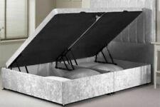 Luxury Crushed Velvet Ottoman Side or End Lift Divan Bed Base Frame & Headboard