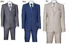 Men's  SUITS 2 BUTTON CHECK ,DOUBLE VENTS ,FLAT FRONT PANTS , SLIM FIT  570203