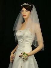 Handmade 2 Tiers Bridal Wedding Veil White / Ivory Elbow Length Beaded Edge
