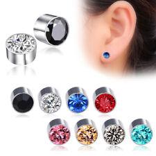 Women Men Rhinestone Earless New Magnet Fashion Ear Studs Round Earrings Hot