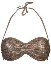 Sapph 'Methi Foglie'S Raccolto Top Bikini-Taupe Oro Paillettes Bikini Top