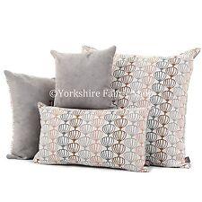 Soft Woven Texture Orange Grey Designer Geometric Balloon Fabric Pattern Cushion