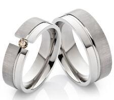 2 Eheringe Trauringe mit echtem Diamant Verlobungsringe aus Titan TLB26