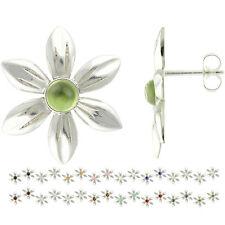 925 Sterling Silver 4mm Cabochon Natural Gemstones Flower Stud Earrings