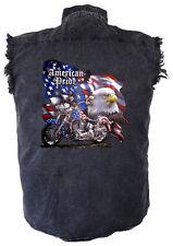 Mens Acid Washed American Pride Denim Sleeveless Cutoff Biker Shirt