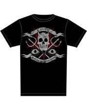 Too Fast Careful Satan Is Watching Skull Tattoo Black Short Sleeved Tshirt Top