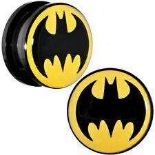 Ear Plug Tunnel Batman Logo Screw Fit Acrylic Black On Yellow Stretcher 4-16mm