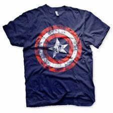 Mens Avengers Distressed Captain America Logo T-Shirt - Crew Neck Marvel Comics