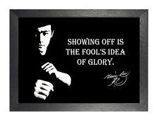 Bruce Lee Glory Black White Motivation Inspiration Quote Poster Signature Photo