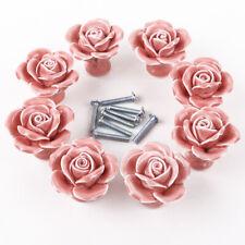 8x Poignée Bouton Rose céramique porte meuble armoire placard tiroir 3 couleurs