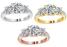 Cyber Monday 1 1/2Ct Round Diamond Three Stone Wedding Ring 18K Gold On