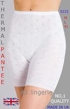 New Ladies Thermal Long Leg Pantee Bloomer UK Made BY Snow DROP White M, L, XL