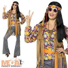 Años 60 Hippie señoras Vestido de fantasía Groovy Psicodélico Paz 70s Disfraz De Hippy Adultos