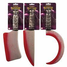 BLOODY BLOOD SPLATTERED PLASTIC WEAPONS KNIFE SCYTHE CLEAVER CLEAVER HALLOWEEN