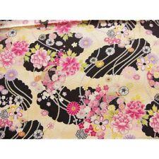 coupon tissu crêpe Chirimen Japonais 55x49cm ballon fleur noir 85 [C-SAIKA]
