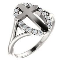 14k White Gold Diamond Halo Cross Ring