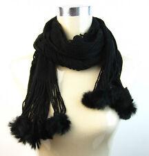 Women's Real Rabbit Fur Pom Pom Open Knit Scarf|Fashion Accessory