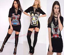 Womens Ladies Lace UP Eyelashes Racer Neon Loin Print Long T-shirt Tunic Dress