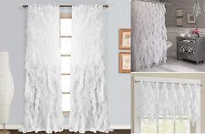 White Cascade Shabby Chic Sheer Ruffled Curtain Panel, Shower Curtain , Valance