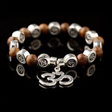 Chakra Natural Wood OM Pendant Buddha Yoga Mens Bracelet Mala Beads Jewelry