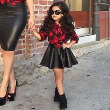 Fashion Toddler  Kids Baby Girls Plaid Shirt+PU Leather Mini Skirt Clothes sets