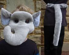 NEW Plush Soft 3D ELEPHANT MASK & TAIL SET Dress ups Costume Halloween Book Week