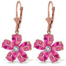 Genuine Pink Topaz Gemstones & Diamond Flower Leverback Earrings 14K. Solid Gold