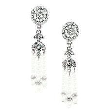 Kristin Perry Deco Pearl Tassel Great Gatsby Flapper Earrings