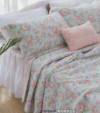 3PCS Shabby Chic Cottage Queen Floral Blue Cotton Quilt Coverlet Bedspread Set