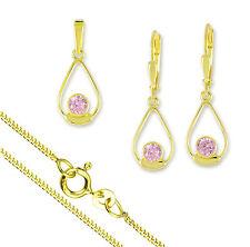 VASCAYA Schmuck Set Ohrring Anhänger Kette 42/45 Zirkonia rosa Gold 333 Geschenk