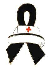 Black Ribbon Nurse Cap Awareness Pin Melanoma Gang Prevention Cancer Cause New