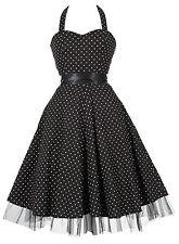 Señoras 1950 Estilo Vintage Negro A Lunares h/neck Rockabilly Vestido Nuevo 8 - 26