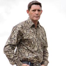 New Mens Brown Cotton Paisley Shirt-8007-B  Western Shirt Brigalow