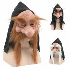 GNOME Dwarf Troll Goblin Hooded Mask Beard Hobbit Old Man Fancy Dress Accessory
