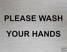 Toilet Door Sign Loo Lavatory Please Wash Your Hands Aluminium self adhesive