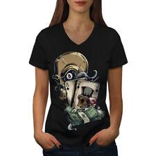 Cráneo Tarjeta de Poker Casino Mujer Cuello en V wellcoda Camiseta Nuevo |