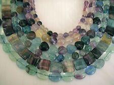 UK cheapest-genuine fluorite round teadrop oval square heart gemstone beads blue