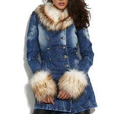 ba612b5a623b By Alina Damenjacke Felljacke Jeansjacke Mantel Jacke Blau Beige XS-M
