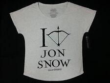 Game Of Thrones I HEART JON SNOW Dolman Women's T-Shirt White NWT Licensed