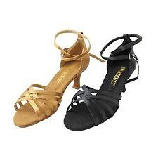 Danzcue Women Straps Satin Salsa Ballroom Latin Dance Shoes