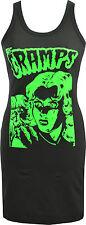 LADIES BLACK DRESS THE CRAMPS B-MOVIE HORROR GREEN GARAGE PSYCHOBILLY PUNK S-XL
