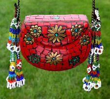 Tassels Indian Metal Clutch Handmade Bag Purse Ethnic Boho Bohemian Handcrafted