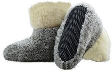 Hausschuhe Hüttenschuhe Lammfell 100% Schafwolle Schaffell Pantoffeln Grau 35-48