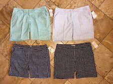 NWT Callaway Golf Women's Dri White Black Plaid Chevron Bermuda Shorts Ladies