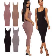 Ladies Sleeveless Scoop Neck Low Back Second Skin Slinky Midaxi Midi Dress 6-18