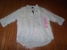 NEW WOMENS BANDOLINO SHIRT JORDAN CLOUD WASH BLUE WHITE TIE DYE 3/4 SLEEVE S 2XL